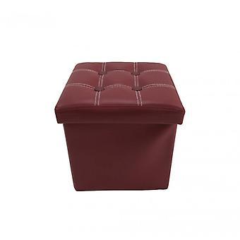 Meubles Rebecca Ottoman Pouf Padded Similpelle Bordeaux Folding 30x30x30
