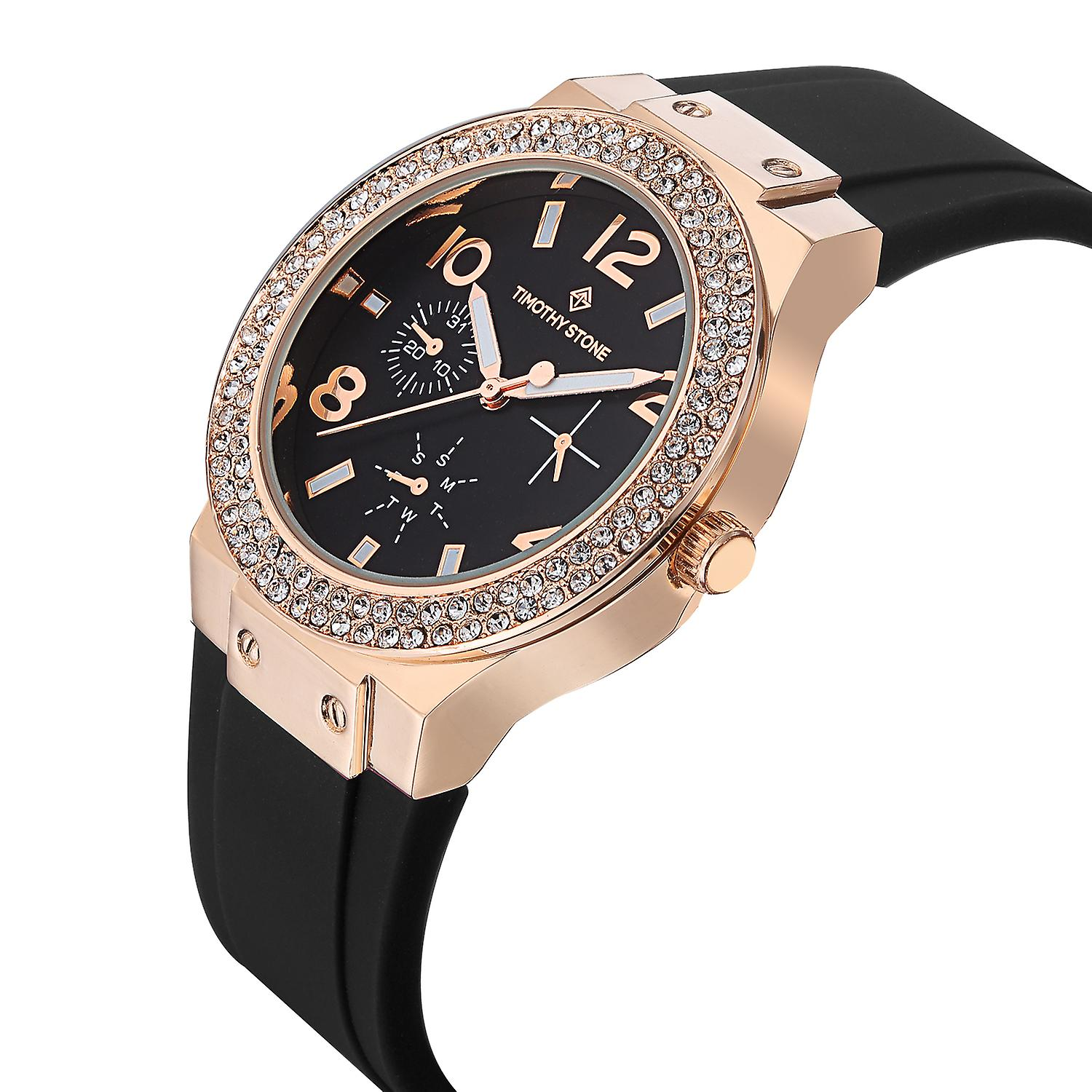 Timothy Stone Women's FA�ON-SILICONE Rose Gold-Tone and Black Strap Watch