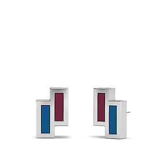 Colorado Avalanche Sterling Silver Asymmetric Enamel Stud Earrings In Red and Blue