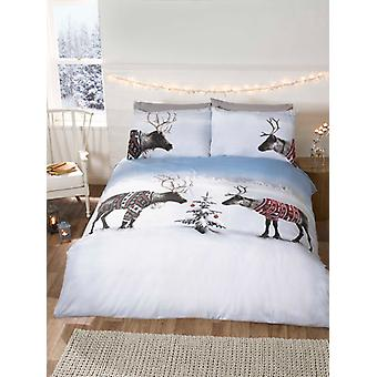 Christmas Reindeers Duvet Cover and Pillowcase Set