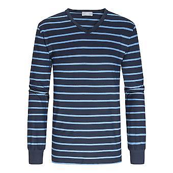 Mey 11289-668 Män's Yacht Blå Randig Bomull Pyjama Set