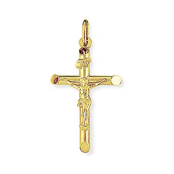 Jewelco Londres 9ct Yellow Gold Crucifix INRI Inscrit Jesus Cross Charm Pendant - 22x35mm