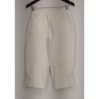 Pantalon Denim et Co. Pull-on Stretch Capri Pantalon avec Blanc New A288103