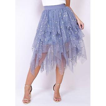 High Waisted Tiered Tulle Star Sequin Skirt Grey