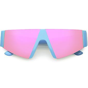Modern Active Sport Wear Shield Semi-Rimless Mirror Lens Flat Top Sunglasses 56mm