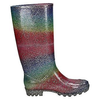 Spot på Womens/Ladies spot på Rainbow glitter Wellingtons