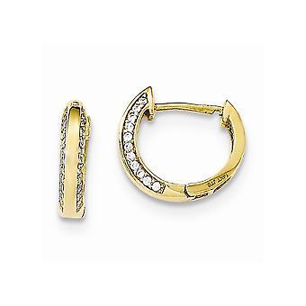 14k Gul guld poleret CZ Cubic Zirconia simuleret Diamond for drenge eller piger Hængslet Hoop Øreringe