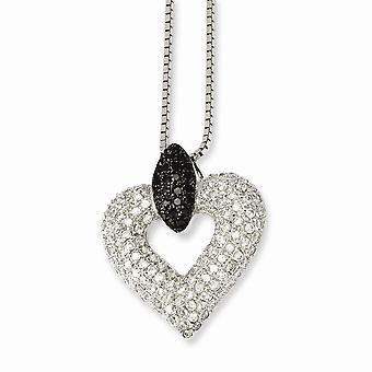 925 anillo de primavera de plata de ley Rhodium plateado y CZ Cubic Zirconia simulado diamante brillante ascuas amor corazón neckl