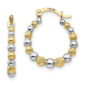 14k geelgoud en rhodium kralen hoepel oorbellen maatregelen 18x16mm brede 2 mm dikke sieraden geschenken voor vrouwen