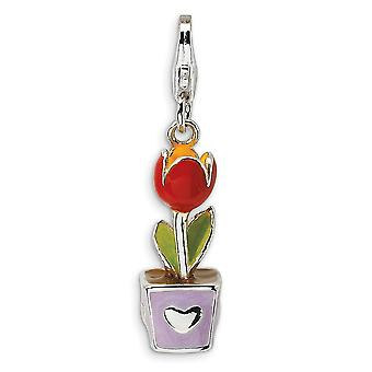 925 Sterling Silver Rhodium plated Fancy Lobster Closure 3 D Red Enamel Potted Tulip Flower With Lobster Clasp Charm Pen