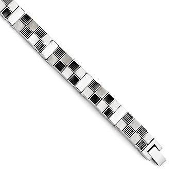 Edelstahl Antik gebürstet und poliert-Armband - 8,25 Zoll