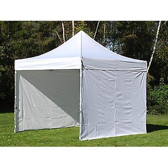 Faltzelt FleXtents Steel 3x3m Weiß, mit 4 Seitenwänden