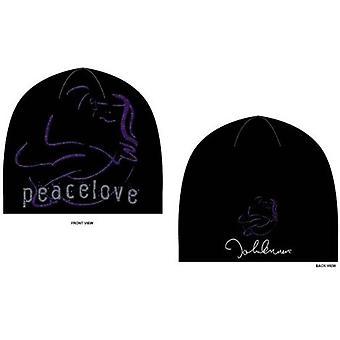 John Lennon Beanie Hat Peace and Love Logo new Official Black