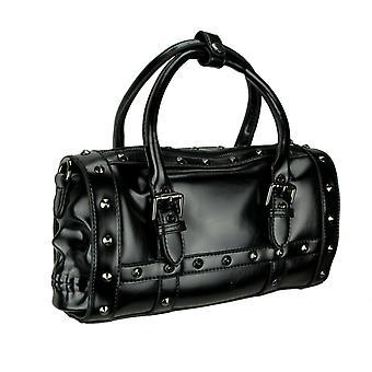 Zwarte bezaaid dubbele schedel Satchel handtas