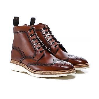 Loake pintados à mão botas de couro Mamba