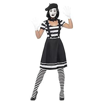 Womens Mime Artist Fancy Dress kostuum