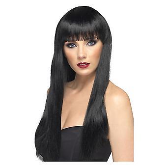 Skönhet peruk, svart, lång, rak med Frans maskeraddräkter tillbehör