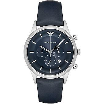 Emporio Armani Mens heren chronograaf horloge blauw lederen riem Blue Dial AR11018