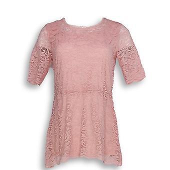 Isaac Mizrahi Live! Damen's Top Ellenbogen-Sleeve Stretch Lace Pink A352272