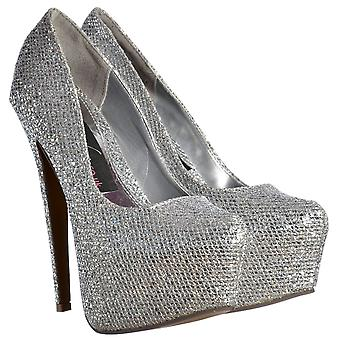 Onlineshoe Sparkly Silver Shimmer Glitter High Heel Stiletto Concealed Platform Shoes - Silver