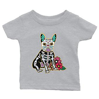 Frenchie Day Of Dead Funny Halloween Costume Cute Baby Gift Tee Grey