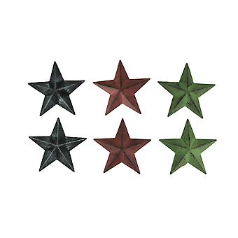 Red Green and Black Metal Hanging Stars Set of 6