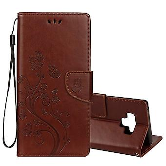 Voor Galaxy Note 9 Case Brown Embossed Butterfly Pattern Folio Lederen Cover