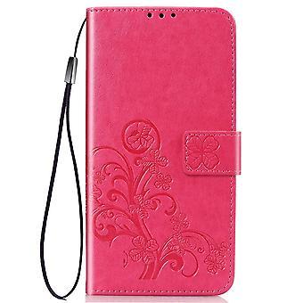 IPhone 11 tapauksessa magenta nelilehtinen clover kohokuvio kuvio PU nahkakansi kortti & cash lähtö, kaulanauha & kickstand