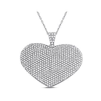 2.00 Carat (ctw I2-I3) Diamond Pave Heart Pendant Necklace in 14K White Gold with Chain
