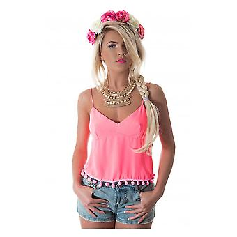 Siesta Pom Camisole Top In