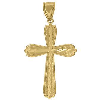 10kイエローゴールドメンズ女性スパークルカットクロス宗教的な魅力ペンダントネックレスメジャー55.6x27.10mmワイドジュエリーギフトf