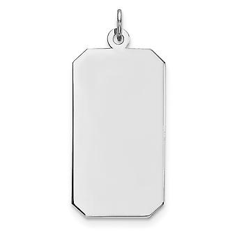 Dog Tag Polish Front Satin Back Disc Charm 15mm Sterling Silver Rhod.-plate Eng