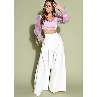 Wide Leg High Waisted Palazzo Trousers White