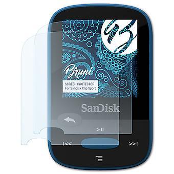 Bruni 2x Screen Protector kompatibel med Sandisk Clip Sport Beskyttende Film