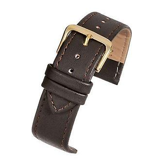 Leather watch strap brown stitched economy collection