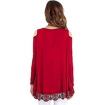 Bosbary Womens Long Sleeve Cold Shoulder Lace Trim, Long Sleeve-red, Size Small