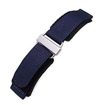 Strapcode Haken und Schlaufe Uhr Armband 22mm Miltat Wabe Marine blau Nylon Verschluss Armband, gebürstet Edelstahl Schnalle