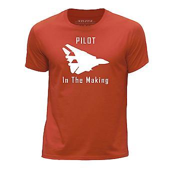 STUFF4 Boy's Round Neck T-Shirt/Funny Pilot In The Making/Orange