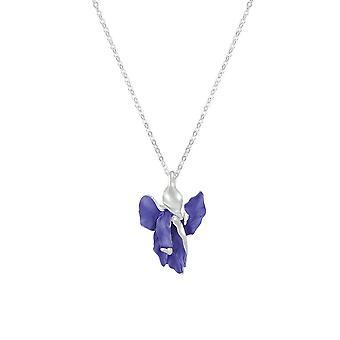 Ikuinen kokoelma iris violetti sininen emali hopea sävy kukka riipus