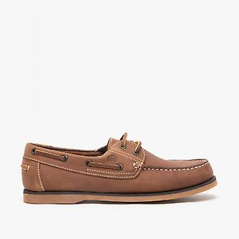 Catesby Shoemakers Peter Mens Leather Boat Shoes Tan