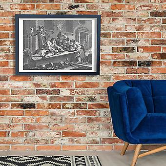 William Hogarth - Prentice at Play in the Church Poster Print Giclee