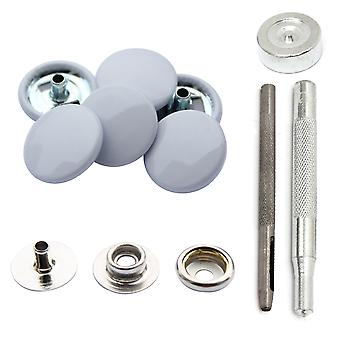 Grey White 15mm 4, Part Press Studs, Snap Fasteners