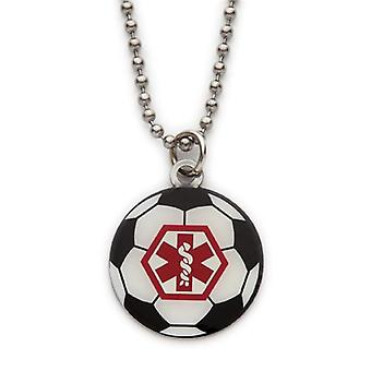 Fashion Alert Medical ID Boys Stainless Steel Football Necklace on 18