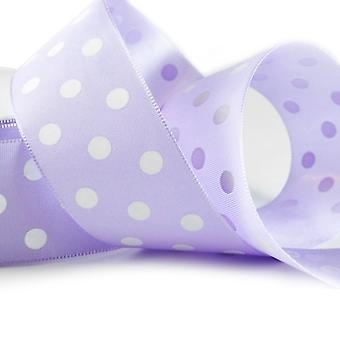 20m Lilac 38mm Wide Polka Dot Satin Ribbon for Crafts