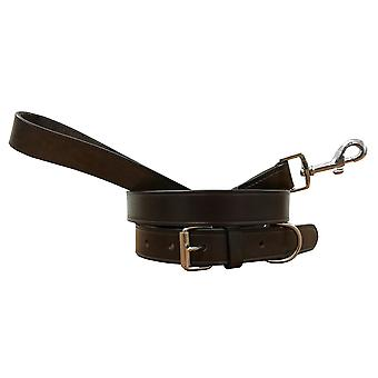 Bradley crompton genuine leather matching pair dog collar and lead set bcdc2brown