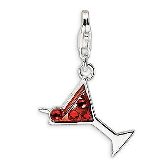 925 Sterling Silver Polished Fancy Lobster Closure Cocktail Glass With Lobster Clasp Charm Pendant Necklace Measures 27x