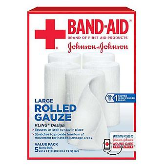 Band-aid rolled gauze kling design, large, 4 inch x 2.1 yards, 5 ea