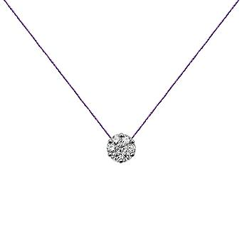 Choker Flower Cluster 18K Gold and Diamonds, on Thread - White Gold, Lilac