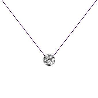 Choker Flower Cluster 18K Goud en Diamanten, op Thread - Wit Goud, Lilac