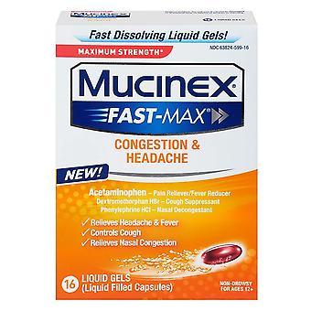 Mucinex fast-max congestion & headache, liquid gels, 16 ea